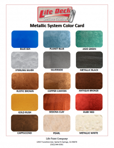 Life Paint Metallic Color Chart